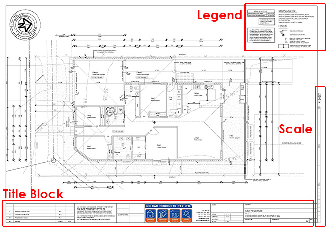 House plan title block